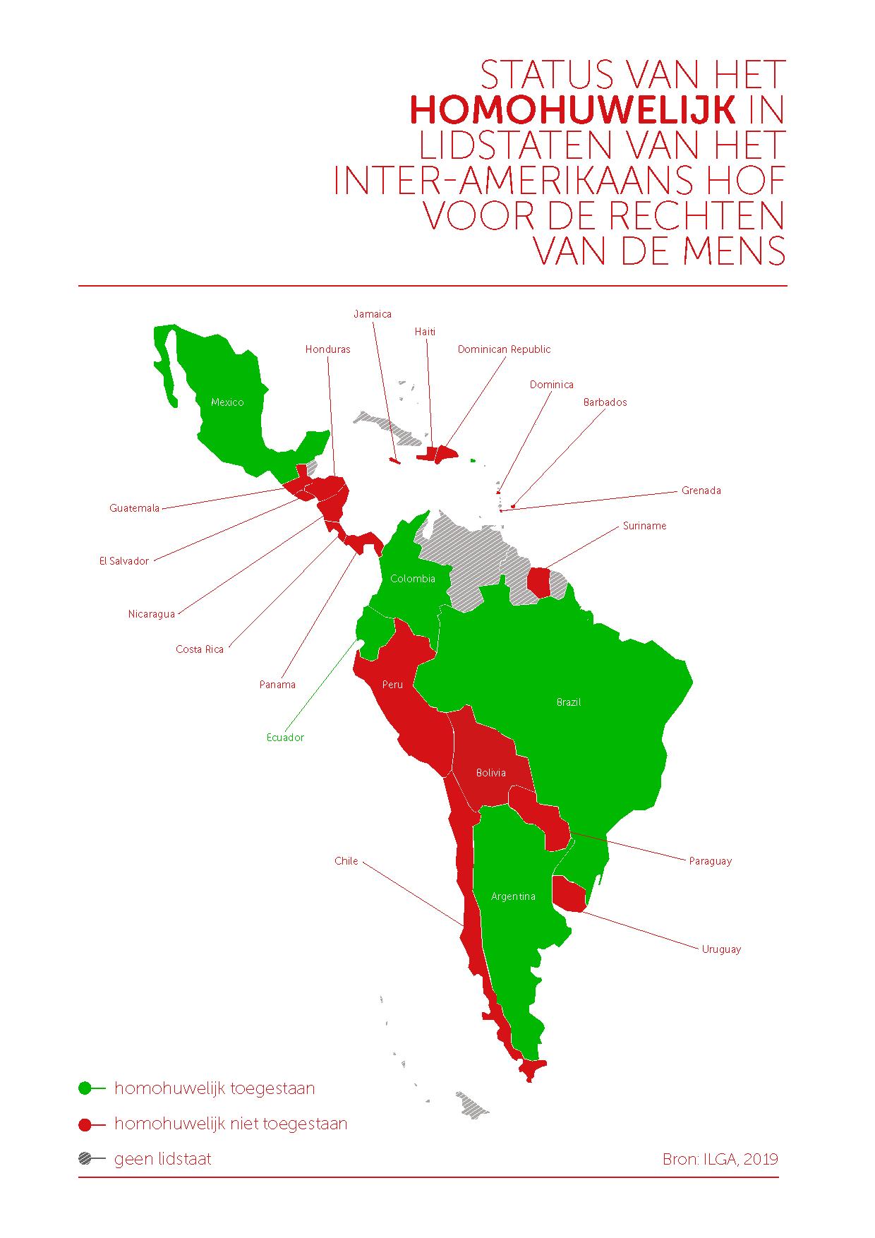 Kaart homohuwelijk Latijns-Amerika